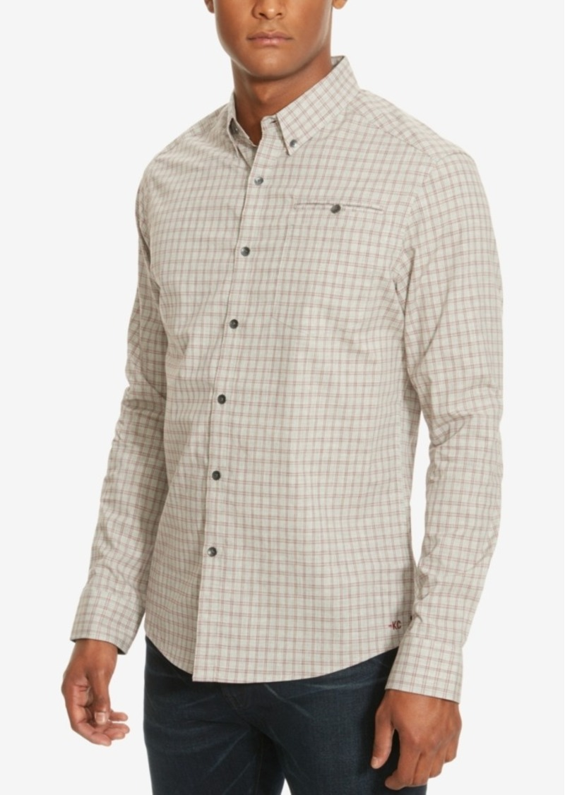 Kenneth Cole New York Men's Check Besom-Pocket Long-Sleeve Shirt