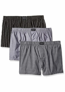Kenneth Cole New York Men's Cotton Woven Boxer 3 Pk BKKCST/GYCHM/BP - 3 Pack