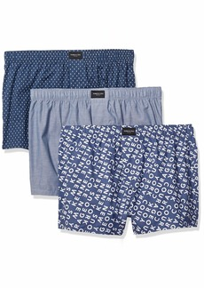 Kenneth Cole New York Men's Cotton Woven Boxer 3 Pk VNTIND/NVYR/CPT - 3 Pack