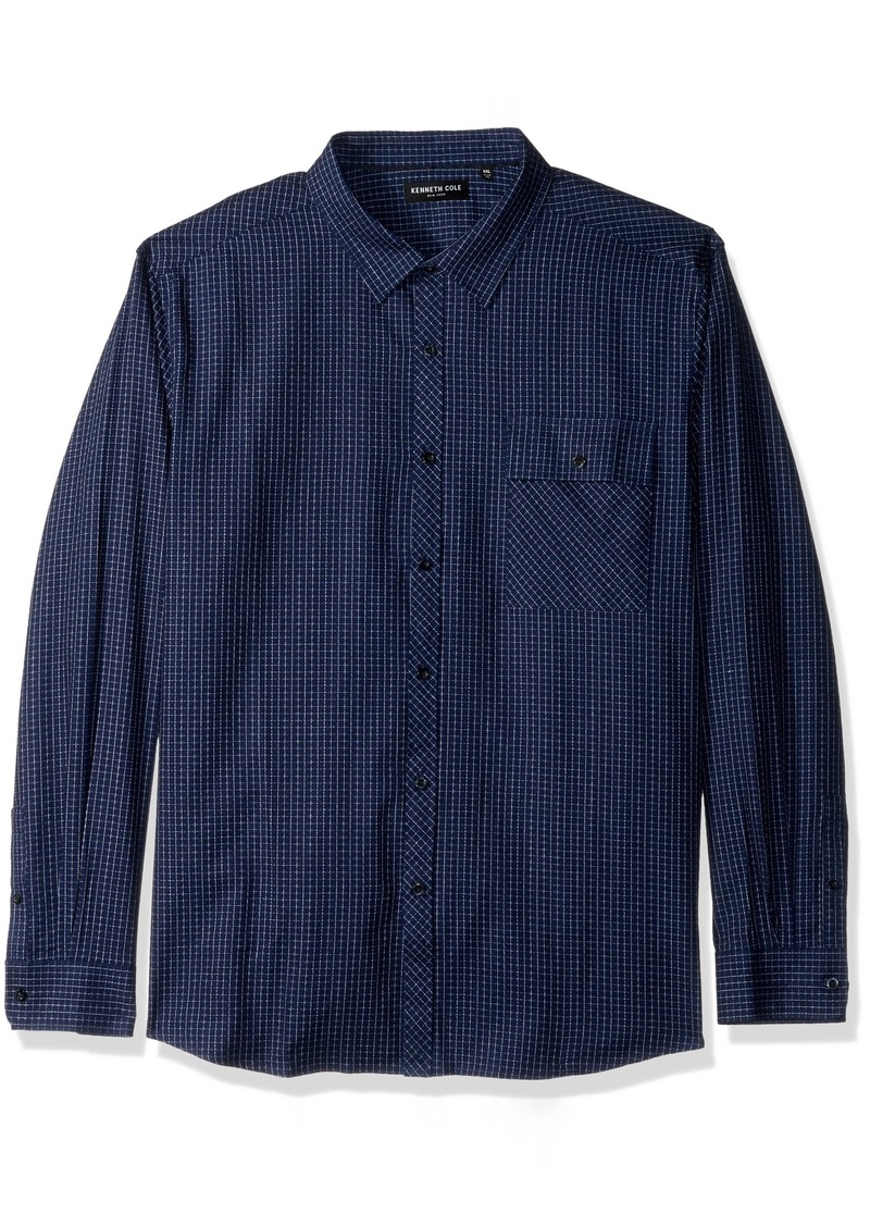 Kenneth Cole New York Men's Crepe Weave  Check Shirt