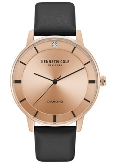 Kenneth Cole New York Men's Diamond-Accent Black Leather Strap Watch 43mm