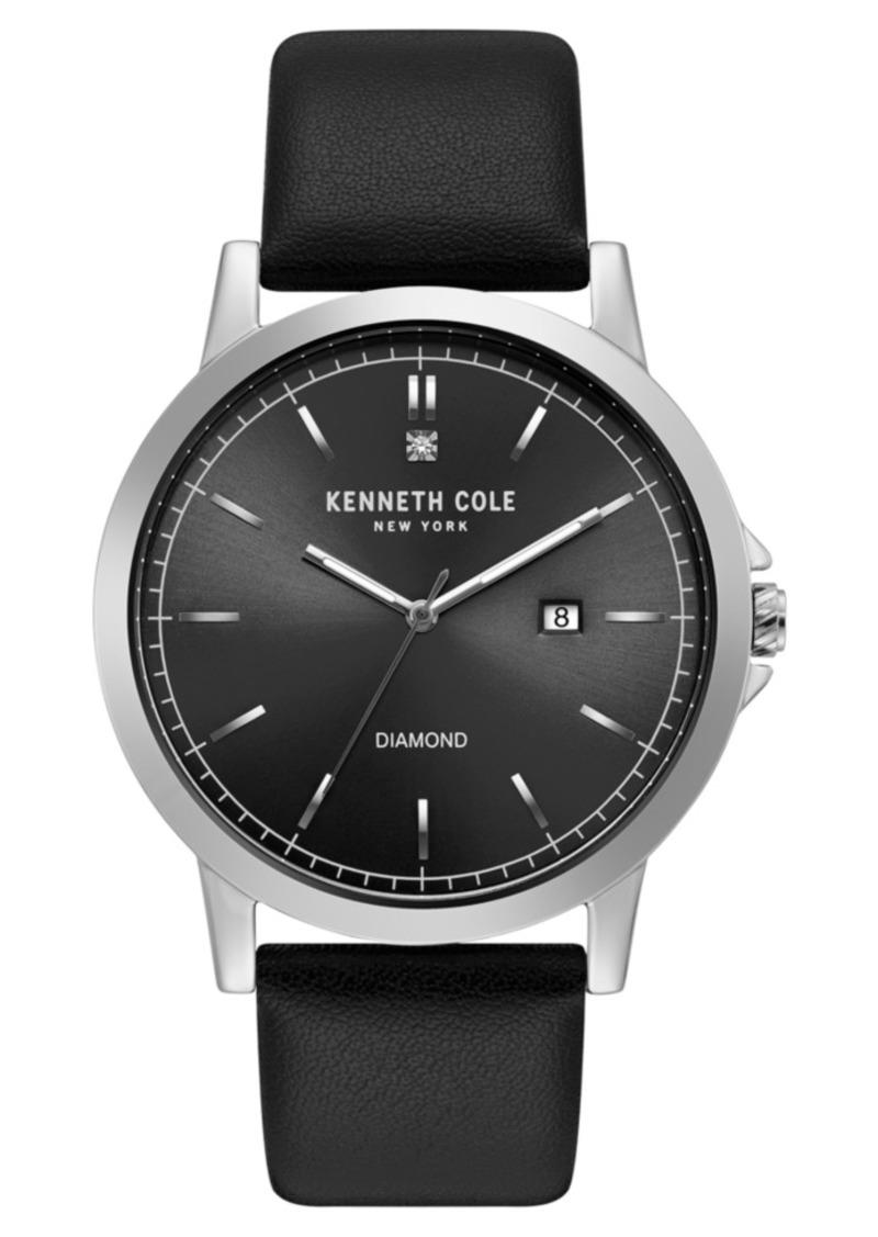Kenneth Cole New York Men's Diamond Black Strap Watch 44mm