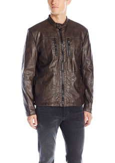 Kenneth Cole New York Men's Distressed Leather Jacket with Faux Sherpa Lining