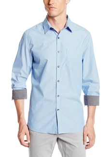 Kenneth Cole New York Men's Dobby Stripe One Pocket Shirt