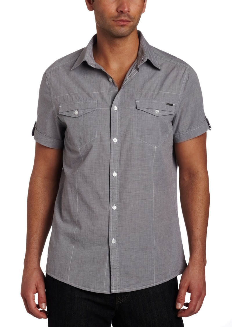 Kenneth Cole New York Men's Double Flap Pocket Woven Shirt