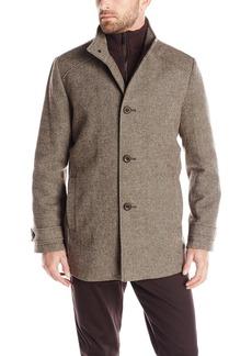 Kenneth Cole New York Men's Fancy Wool-Blend Coat with Front-Zip Bib