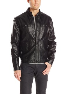Kenneth Cole New York Men's Faux-Leather Moto Jacket