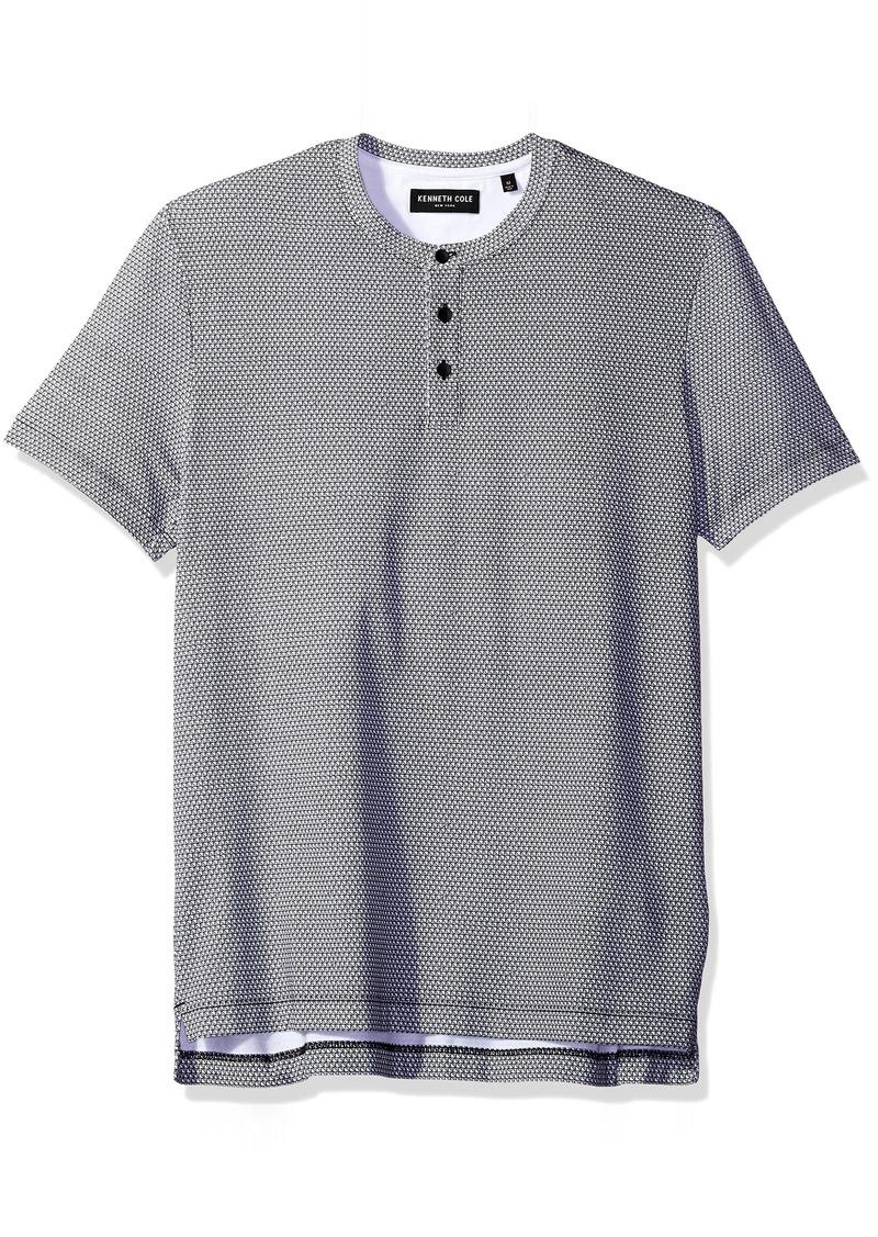 Kenneth Cole New York Men's Geo Print Short Sleeve Henley Shirt