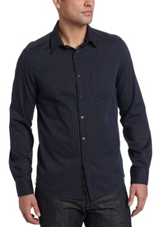 Kenneth Cole New York Men's Grossgrain Trim Stripe Woven Shirt