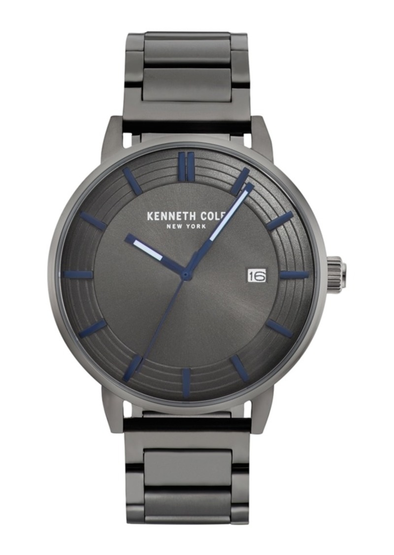 Kenneth Cole New York Men's Gun Metal Bracelet Watch 44mm
