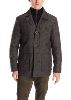 Kenneth Cole New York Men's Herringbone Button Front Wool Jacket with Canvas Bib