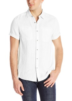 Kenneth Cole New York Men's Kenneth Cole Short-Sleeve Solid Linen Shirt
