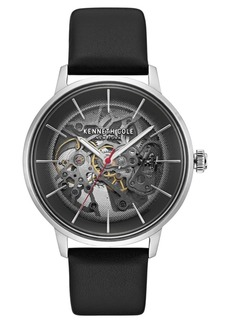Kenneth Cole New York Men's Leather Strap with Skeleton Automatic Dial, 41MM