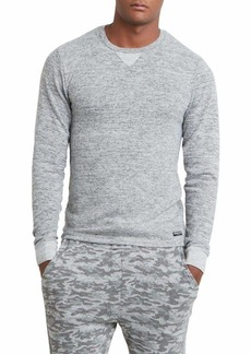 Kenneth Cole New York Men's Long Sleeve Crew Neck Sweater with Pinstripe