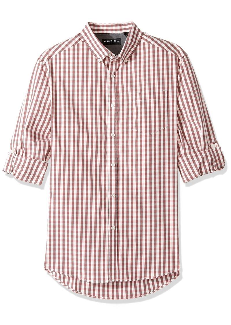 Kenneth Cole New York Men's Long Sleeve Iridescent Check Shirt
