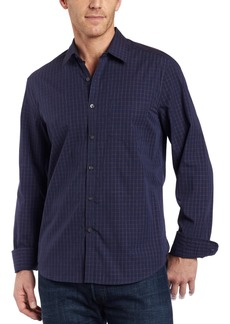 Kenneth Cole New York Men's Long Sleeve Irridescent Plaid Shirt