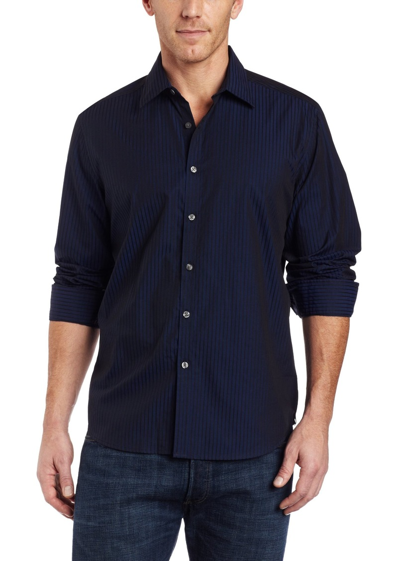 Kenneth Cole New York Men's Long Sleeve Irridescent Stripe Shirt