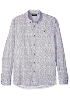 Kenneth Cole New York Men's Long Sleeve White Noise Print