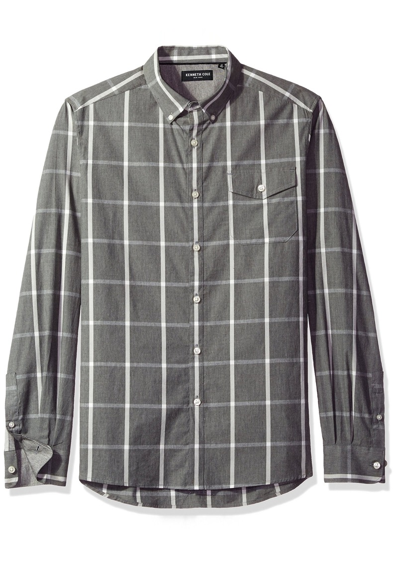 Kenneth Cole New York Men's Long Sleeve Windowpane Shirt