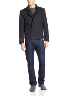 Kenneth Cole New York Men's Melton Wool Motocross Hipster Jacket