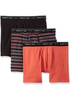 Kenneth Cole New York Men's Novelty Boxer Brief Urbanstripetomato Black Tomato-3 Pack