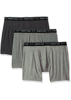 Kenneth Cole New York Men's Novelty 3 Pack Boxer Brief LightGray/mediumgray/Charcoal Grey S