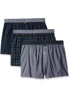 Kenneth Cole New York Men's Novelty 3 Pack Woven Boxers Royal Blue Black