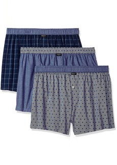 Kenneth Cole New York Men's Novelty 3 Pack Woven Boxers White Navy