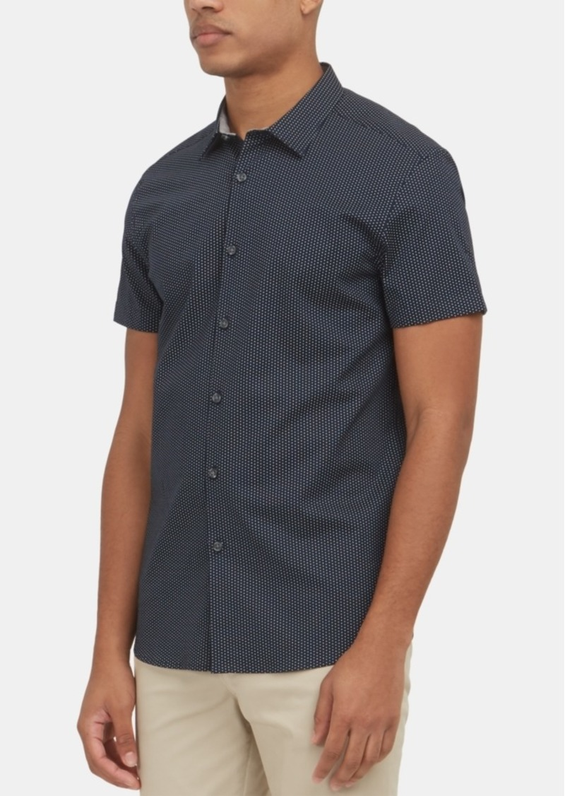 Kenneth Cole New York Men's Performance Stretch Mini-Dot Print Shirt