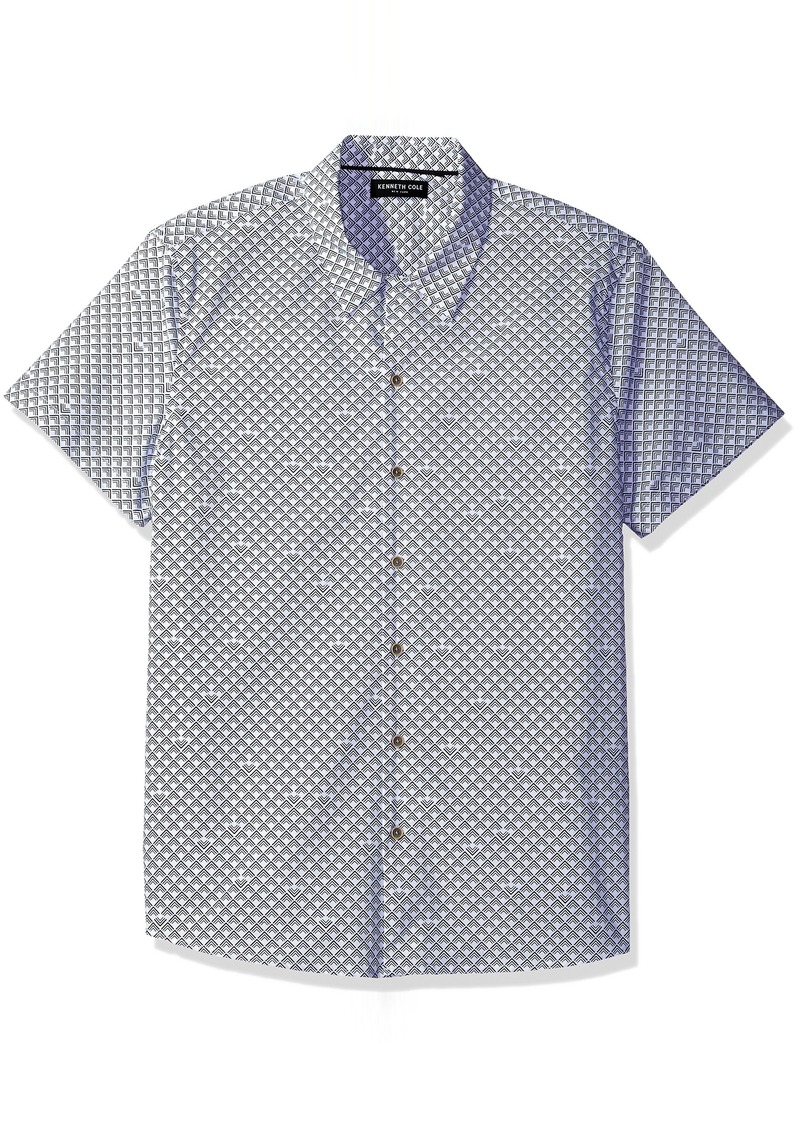 Kenneth Cole New York Men's Short Sleeve Abstract Print Shirt