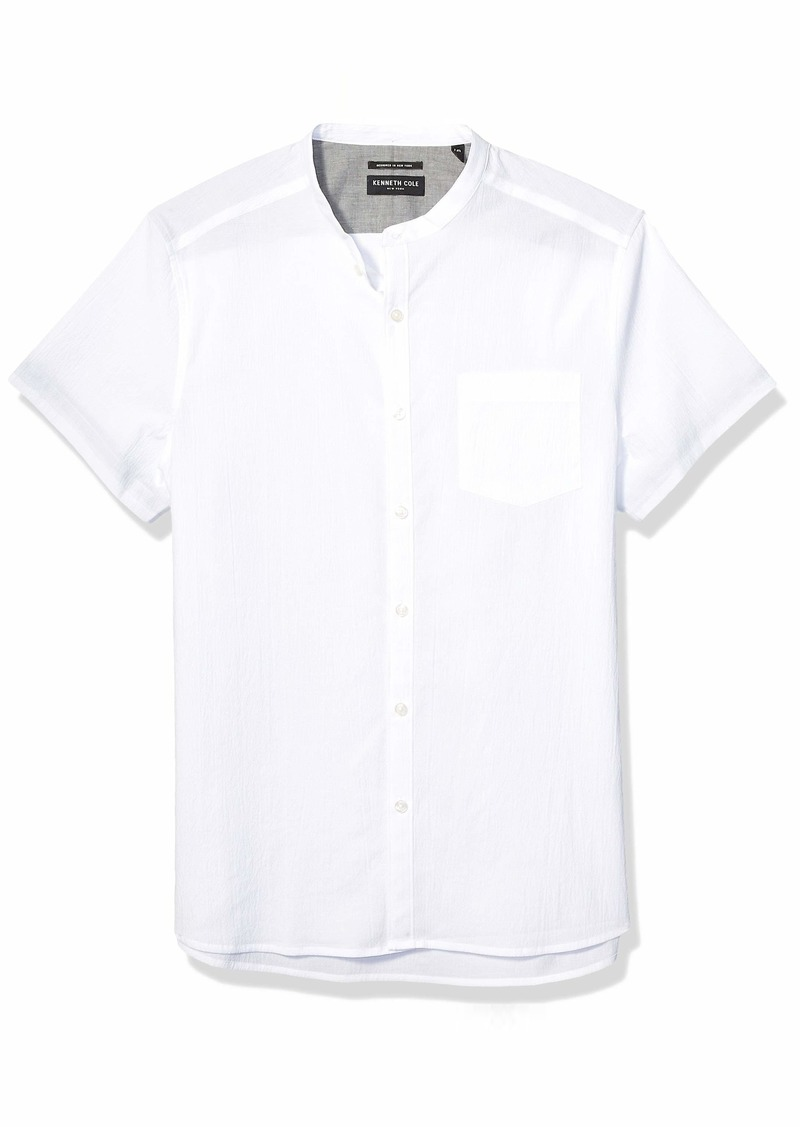 Kenneth Cole New York Men's Short Sleeve Band Collar Button Down Shirt