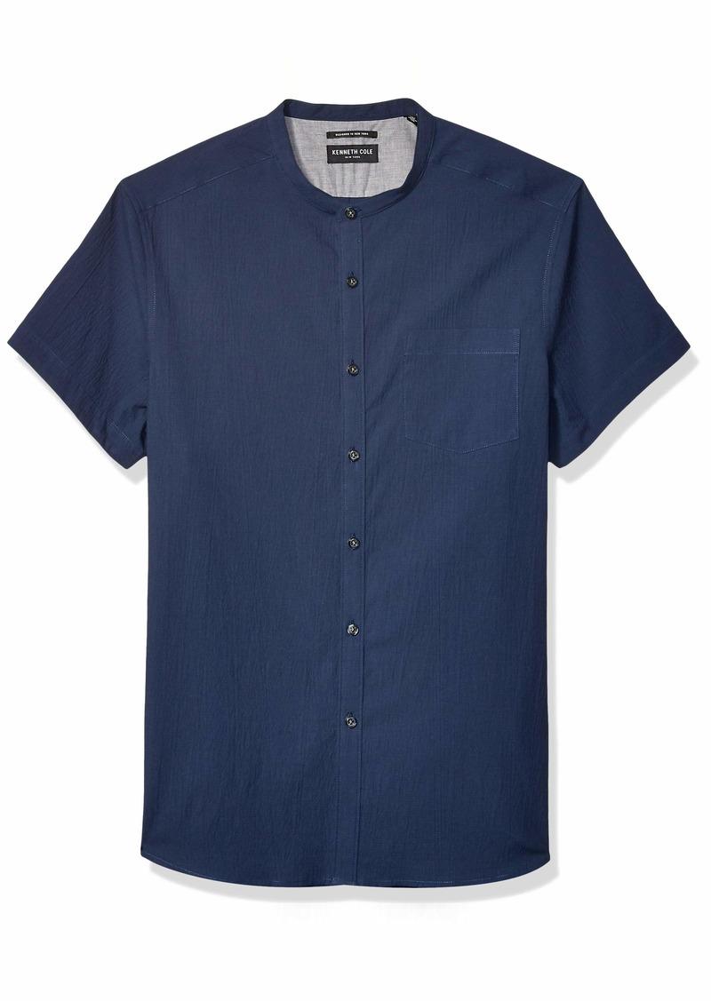 Kenneth Cole New York Men's Short Sleeve Band Collar Button Down Shirt
