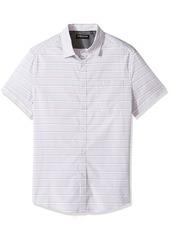 Kenneth Cole New York Men's Short Sleeve Horizontal Stripe Shirt