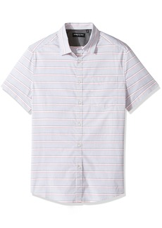 Kenneth Cole New York Men's Short Sleeve Horizontal Stripe Shirt