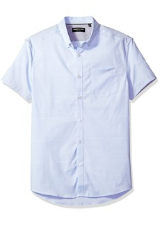 Kenneth Cole New York Men's Short Sleeve Oxford Stripe Shirt