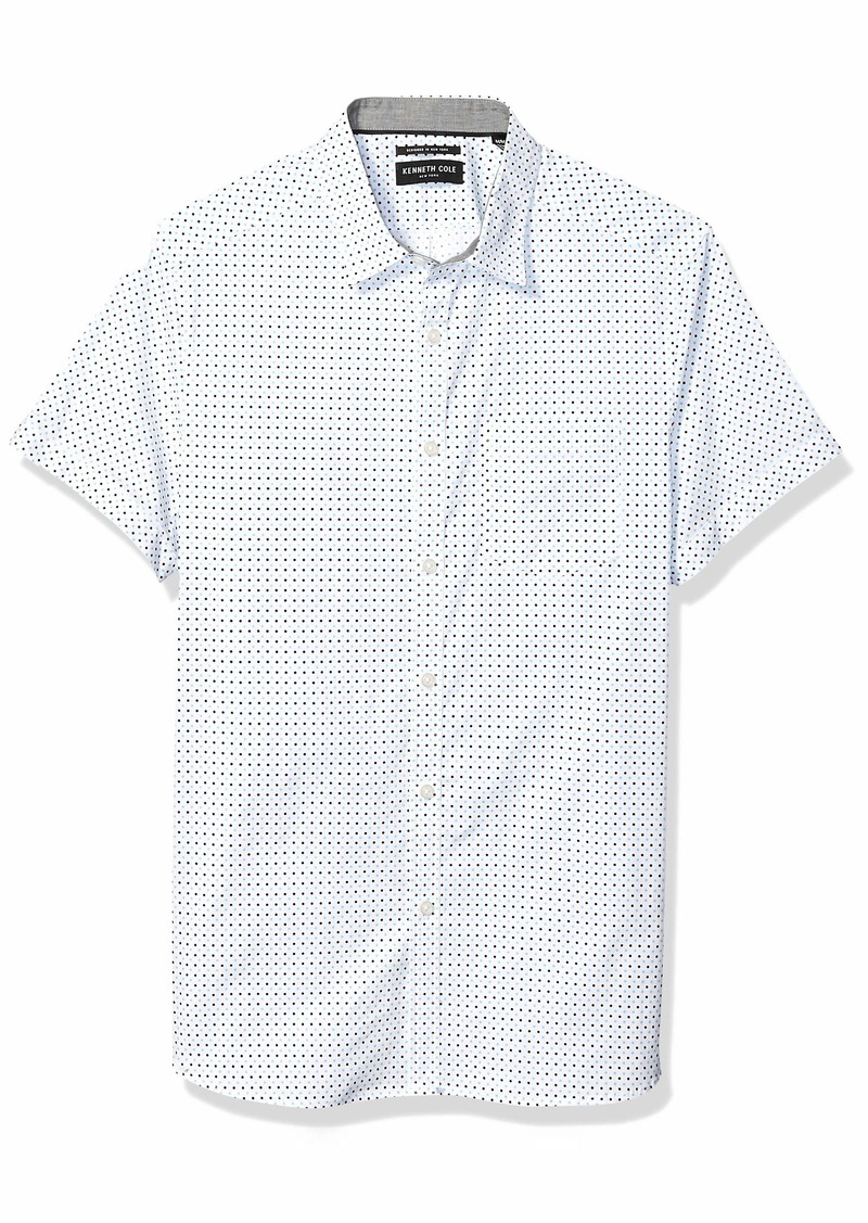 Kenneth Cole New York Men's Short Sleeve Printed Button Down Shirt