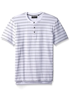 Kenneth Cole New York Men's Short Sleeve Stripe Jacquard Henley