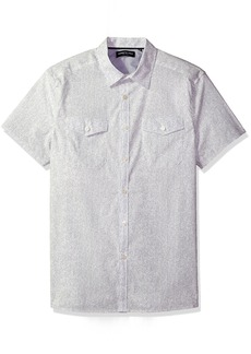 Kenneth Cole New York Men's Short Sleeve Textured Print Shirt