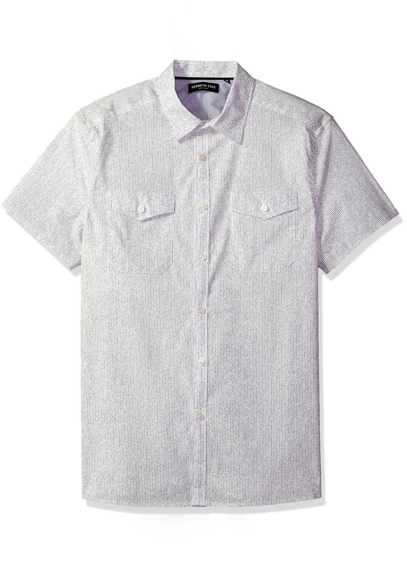 Kenneth Cole New York Men's Short Sleeve Textured Print Shirt