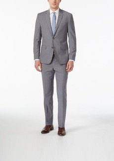 Kenneth Cole New York Men's Slim-Fit Grey and Blue Checked Performance Travel Suit