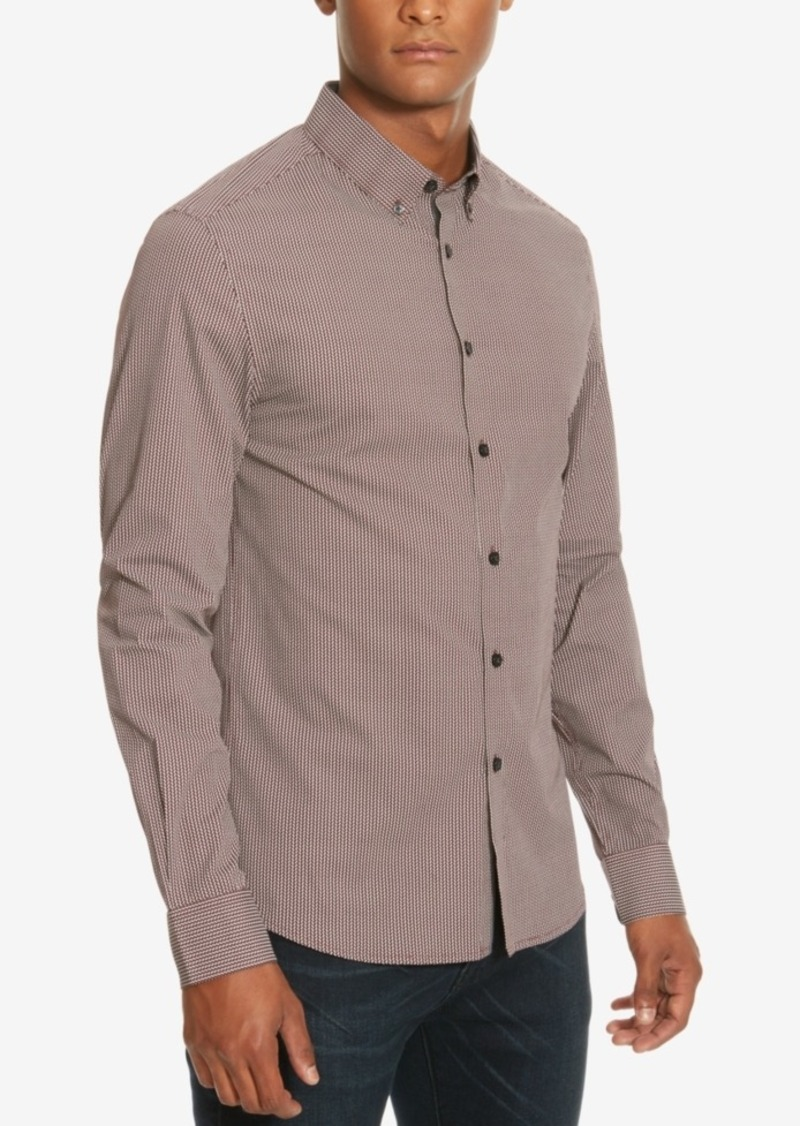 Kenneth Cole New York Men's Slim-Fit Houndstooth Long-Sleeve Shirt