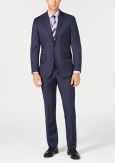 Kenneth Cole New York Men's Slim-Fit Natural Stretch Navy Sharkskin Wool Suit