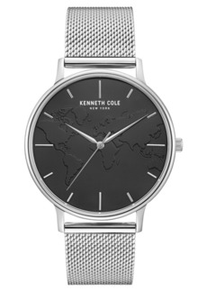 "Kenneth Cole New York Men's Stainless Steel Mesh Bracelet, Dial and ""World"" Etch On Dial, 42MM"