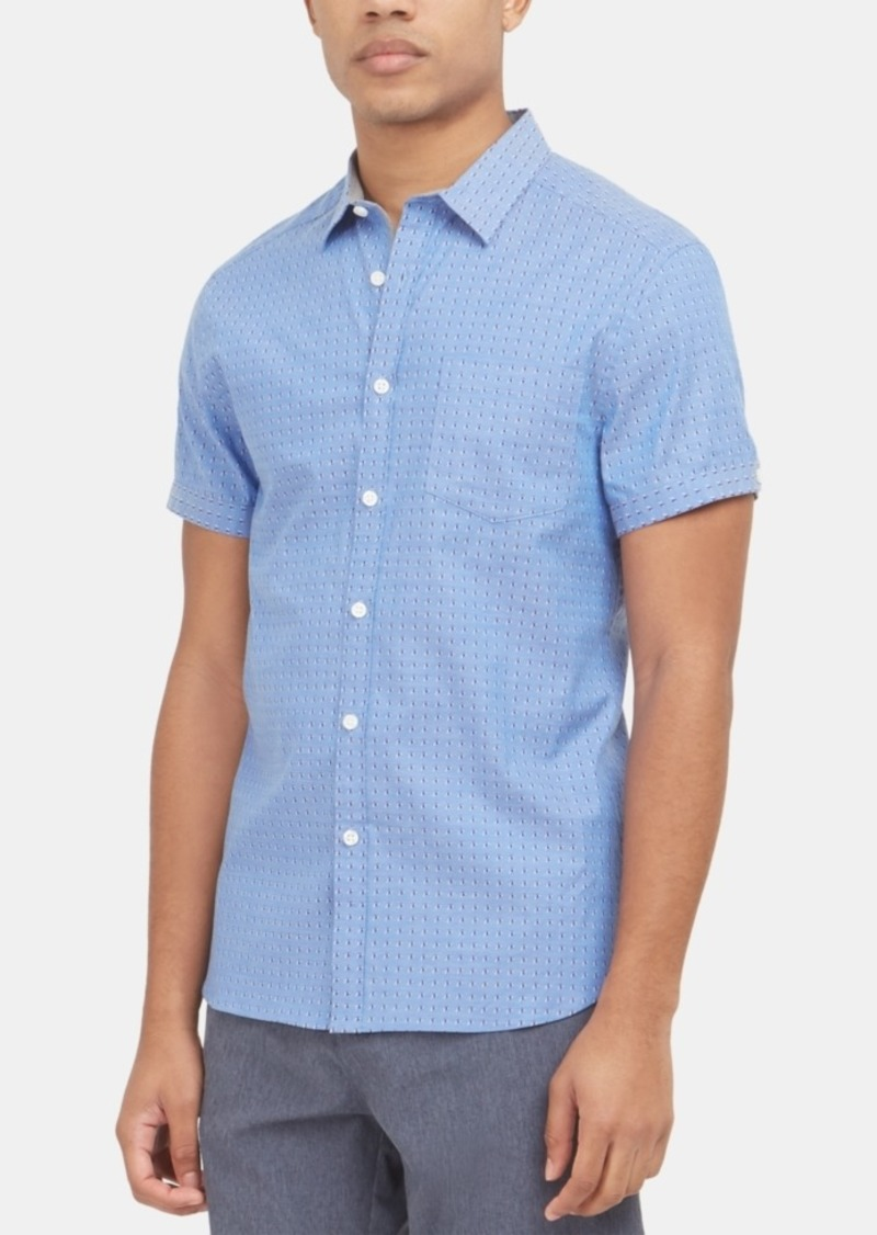 Kenneth Cole New York Men's Stretch Dot-Print Chambray Shirt