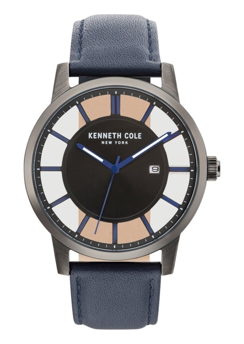 Kenneth Cole New York Men's Transparent Blue Leather Strap Watch 44mm