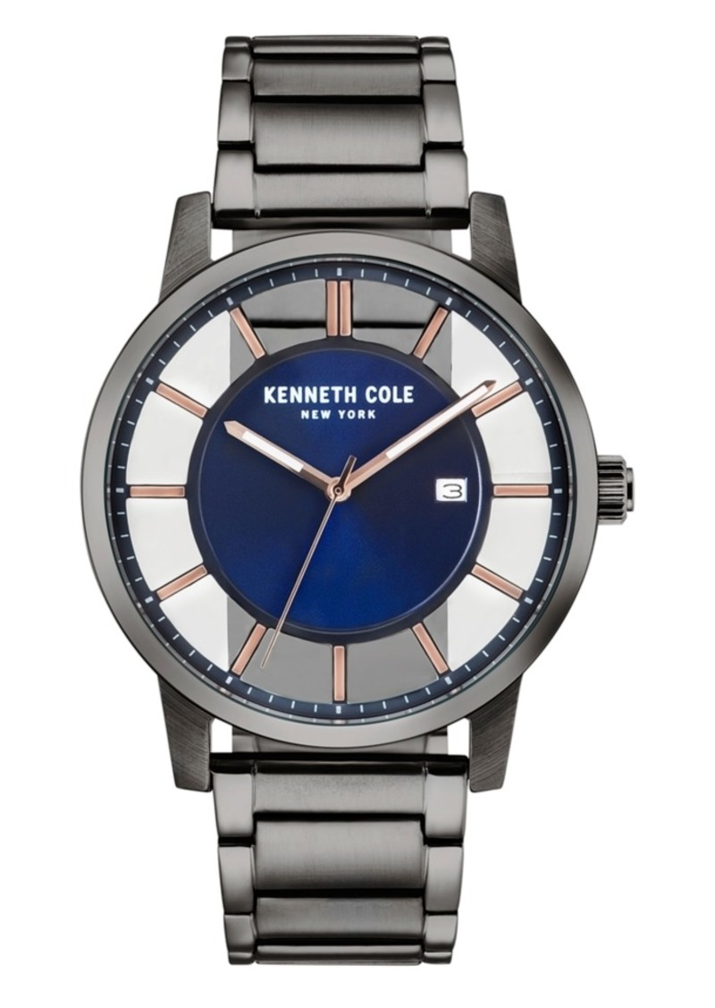 Kenneth Cole New York Men's Transparent Gun Metal Bracelet Watch 44mm