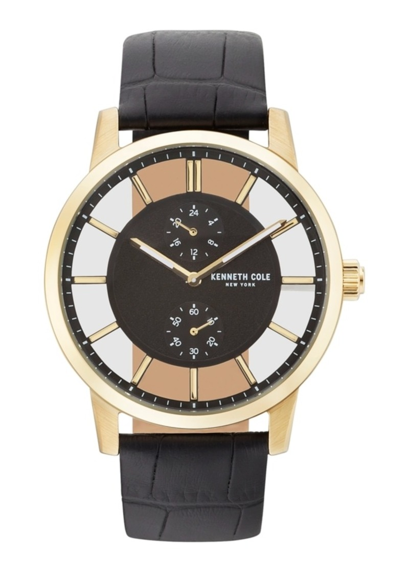 Kenneth Cole New York Men's Transparent Multifunction Black Leather Strap Watch 44mm