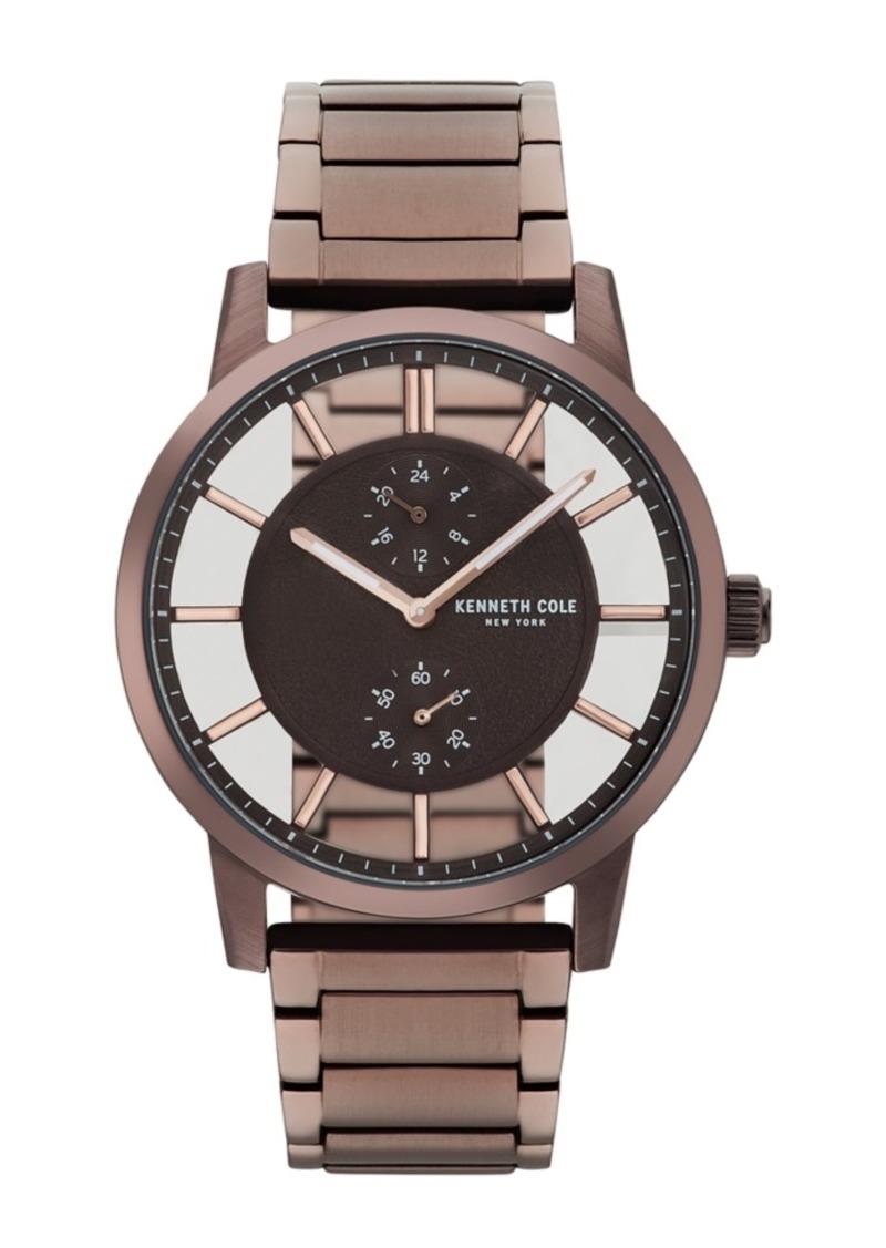 Kenneth Cole New York Men's Transparent Multifunction Brown Metal Bracelet Watch 44mm