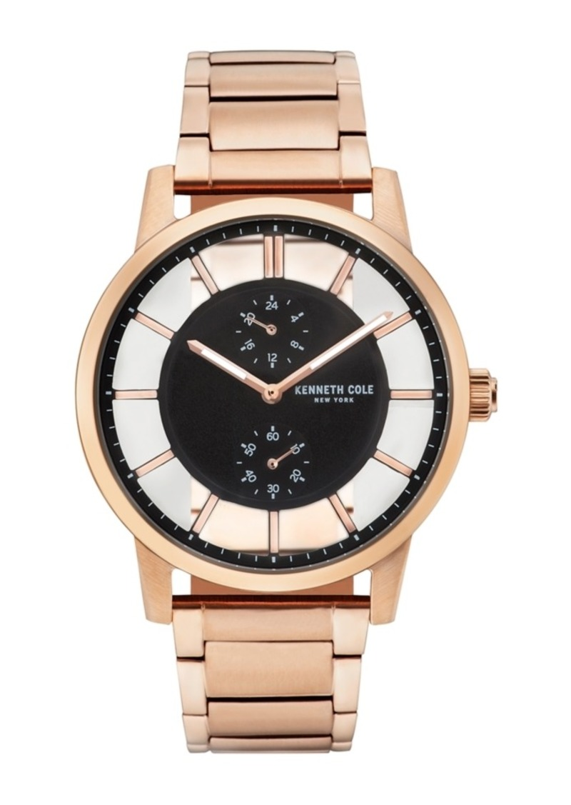 Kenneth Cole New York Men's Transparent Multifunction Rosegold Tone Bracelet Watch 44mm