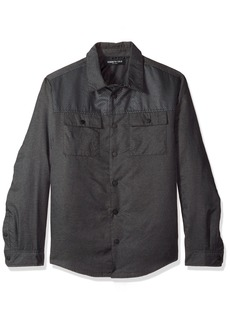 Kenneth Cole New York Men's Two Pocket Pieced Shirt Jacket dim Grey Combo XX-Large